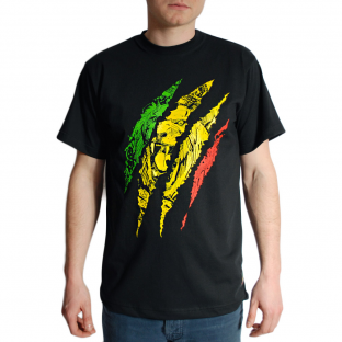 "TSHIRT ""RASTA SCRATCH""BLACK"