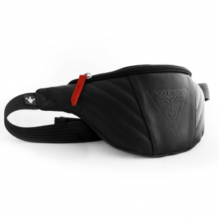 BLACK & RED GENUINE LEATHER WAIST PACK VIDA