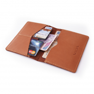 VIDA Slim& Simple Genuine Leather Wallet - Brown&Camel