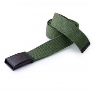 VIDA Military Green Canvas Belt Lionface Buckle